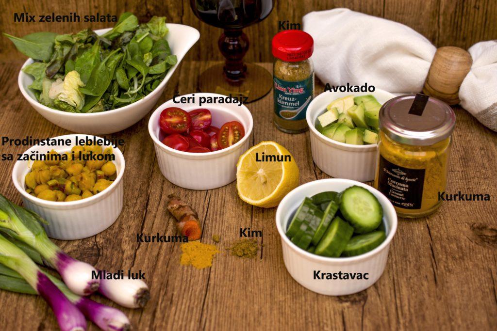 Sastojci za letnju salatu od leblebija