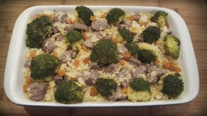 Beef with couscous and dried apricot