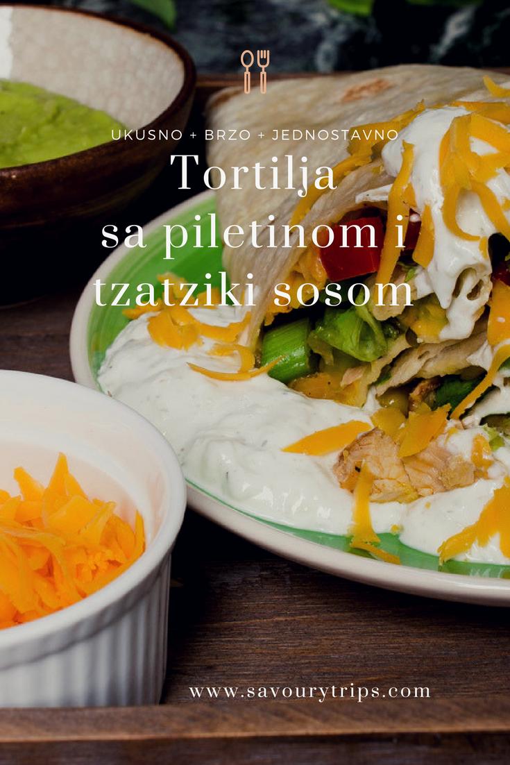 Tortilja sa piletinom i tzatziki sosom