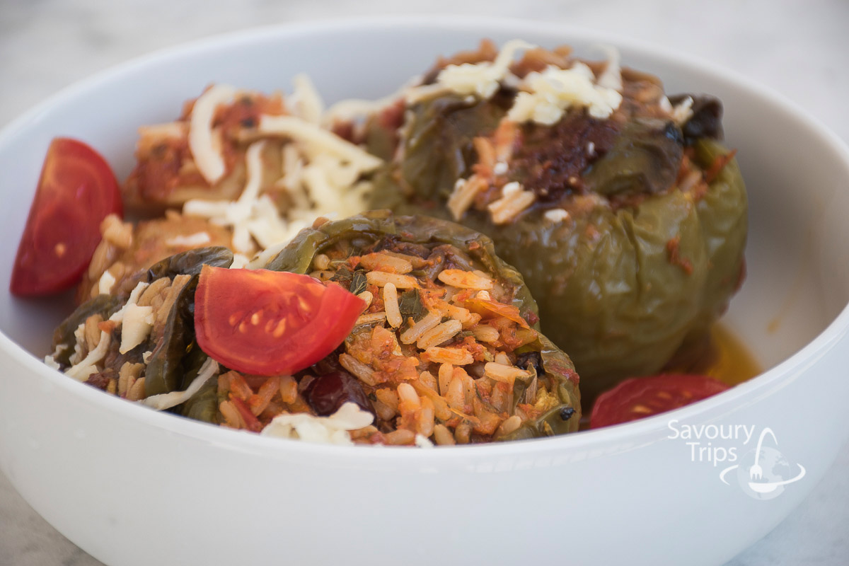 stuffed tomatoes and stuffed peppers