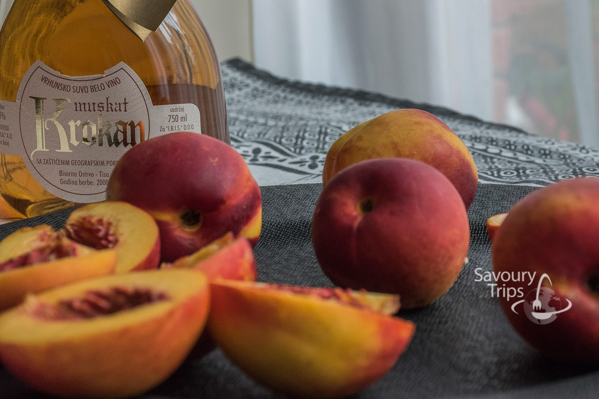 kolac od breskve /peaches in muscat wine recipe