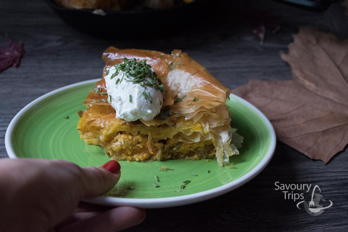 Pita od bundeve i gorgonzola sira - recept / Recipe for Roasted Pumpkin Pie with Gorgonzola cheese