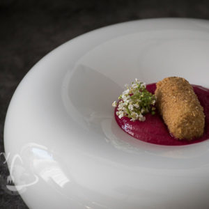 Chicken croquettes and beetroot puree