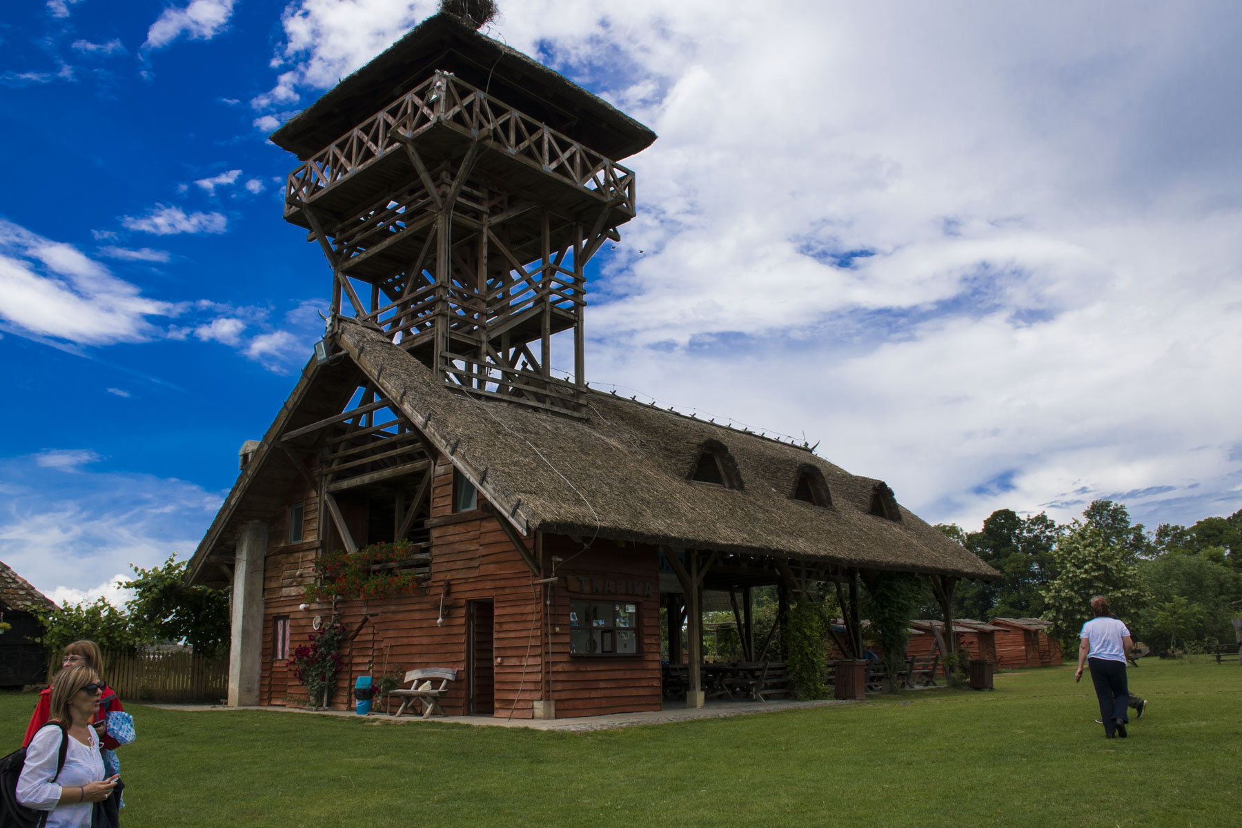 Tall tower and a shop, Visit Zasavica