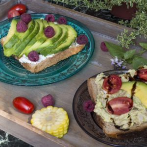 Breakfast in combination with tuna, avocado and goat cheese