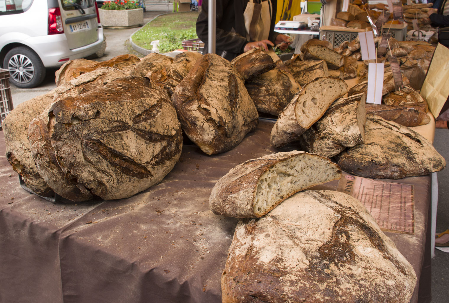 French bread on the Ferney Voltaire market