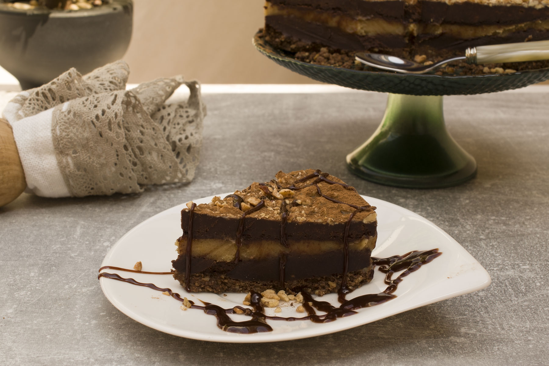 Cute little twisted chocolate and peanut butter cake