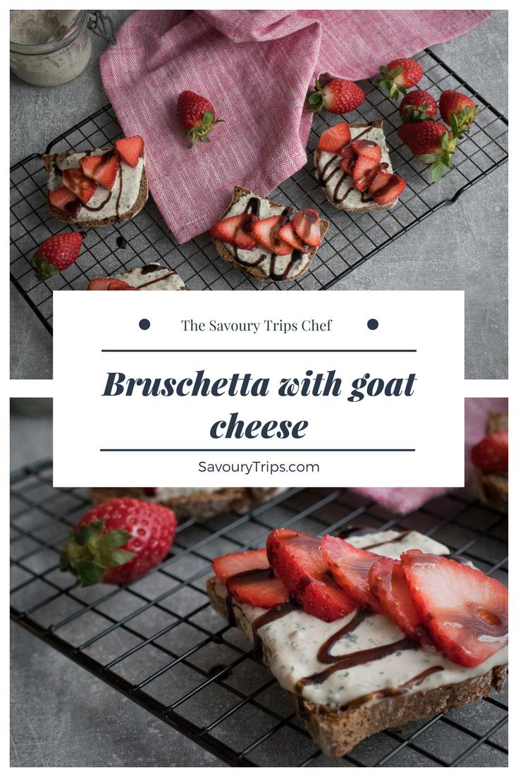 Recept za bruskete sa kozijim sirom i jagodama/Recipe for Bruschetta with goat cheese and strawberries