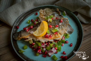 Orada pečena u tiganju sa salsom od nara recept/Sea bream recipe fried in pen with pomegranate salsa