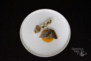 Orada u mango sosu / Sea bream with mango sauce and coconut rice