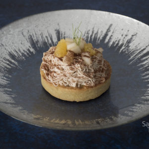 Chestnut tart with pear coilis