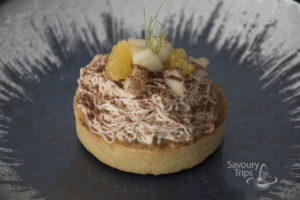 Chestnut tart with pear coulis